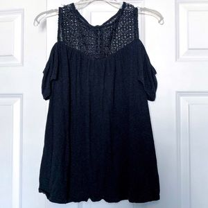 Black off the shoulder tank with lace neckline